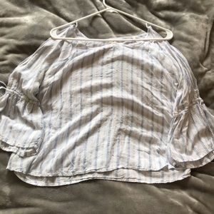 Blue and White striped Ruffle Shirt from Hollister